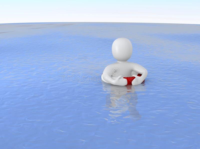 Mann mit Lebenring im Ozean lizenzfreie abbildung