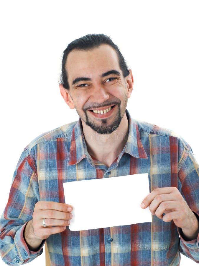 Mann mit Leerbeleg lizenzfreie stockfotos