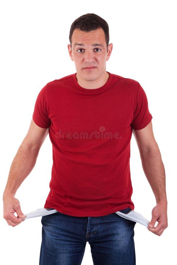 Mann mit leeren Taschen lizenzfreies stockfoto