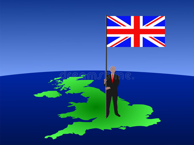 Mann mit Markierungsfahne von Großbritannien stock abbildung
