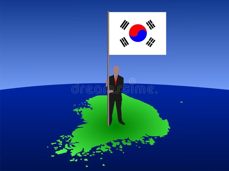 Mann mit Markierungsfahne von Korea stock abbildung