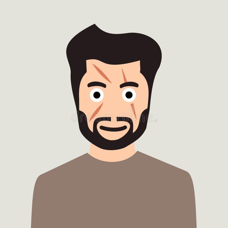 Mann mit Narbe auf geschrammtem Gesicht stock abbildung