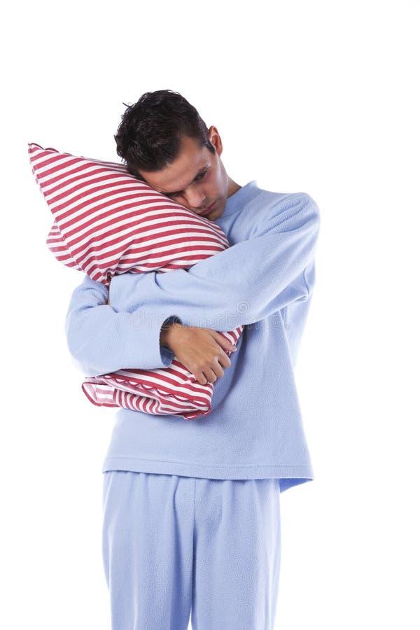 Mann mit nightclothes lizenzfreie stockbilder