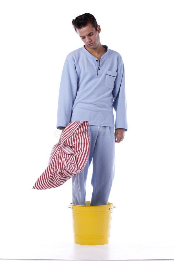 Mann mit nightclothes stockbilder