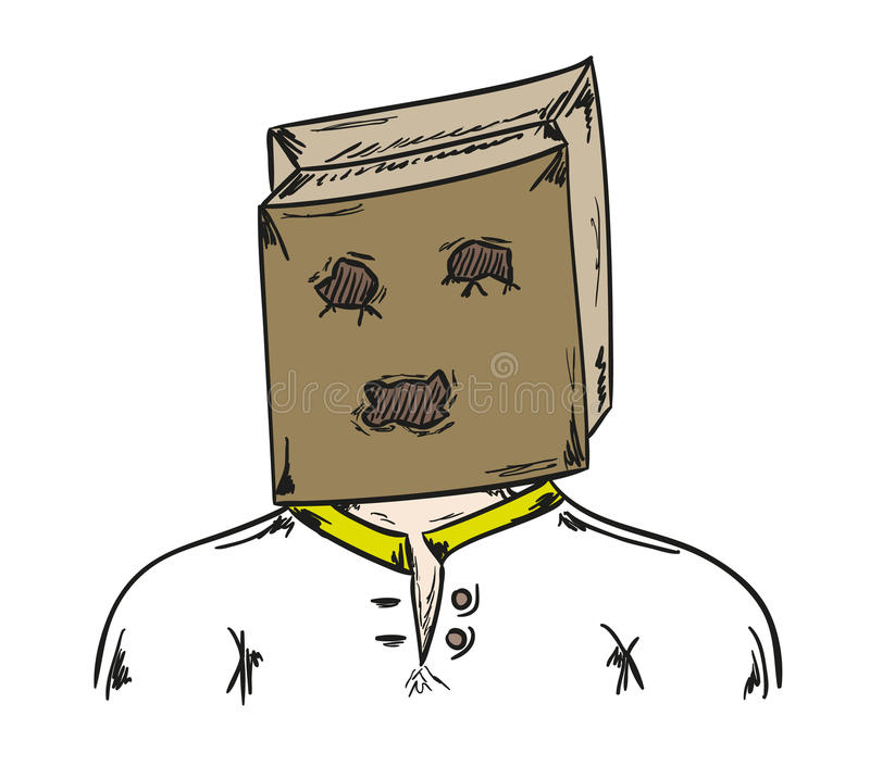 Mann mit Papiertüte auf seinem Kopf vektor abbildung