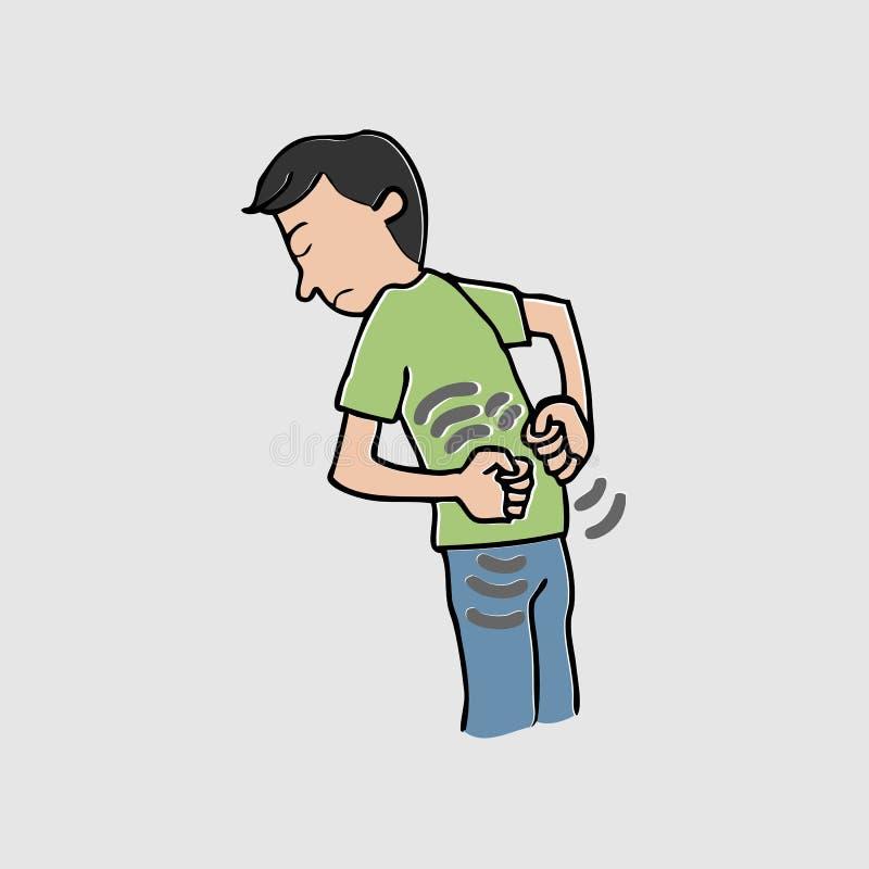 Mann mit Rückenschmerzenkarikatur stock abbildung