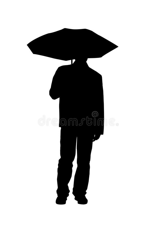 Mann mit Regenschirm stock abbildung