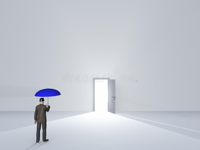 Mann mit Regenschirm im Reinweißraum stock abbildung