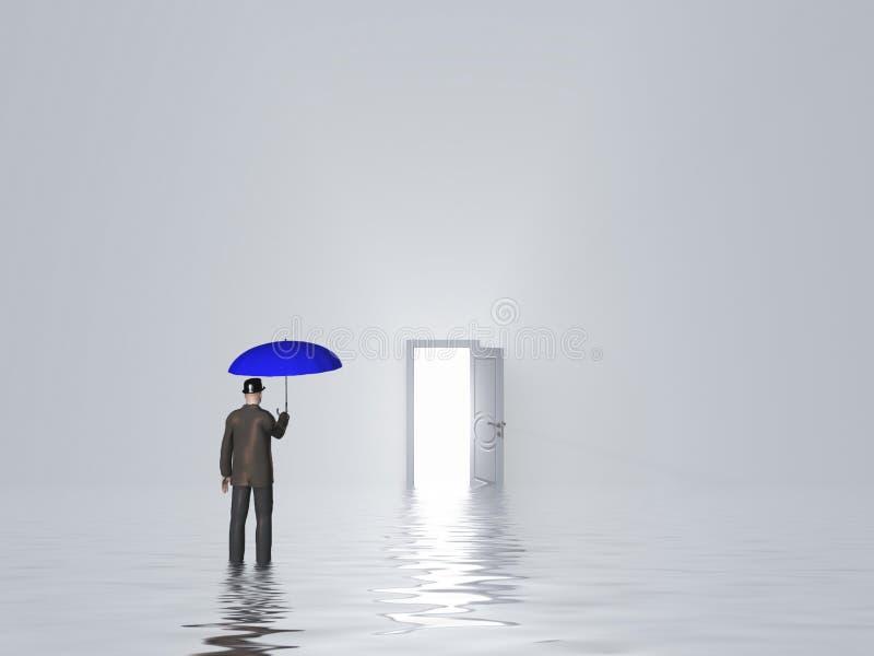 Mann mit Regenschirm im Reinweißraum vektor abbildung