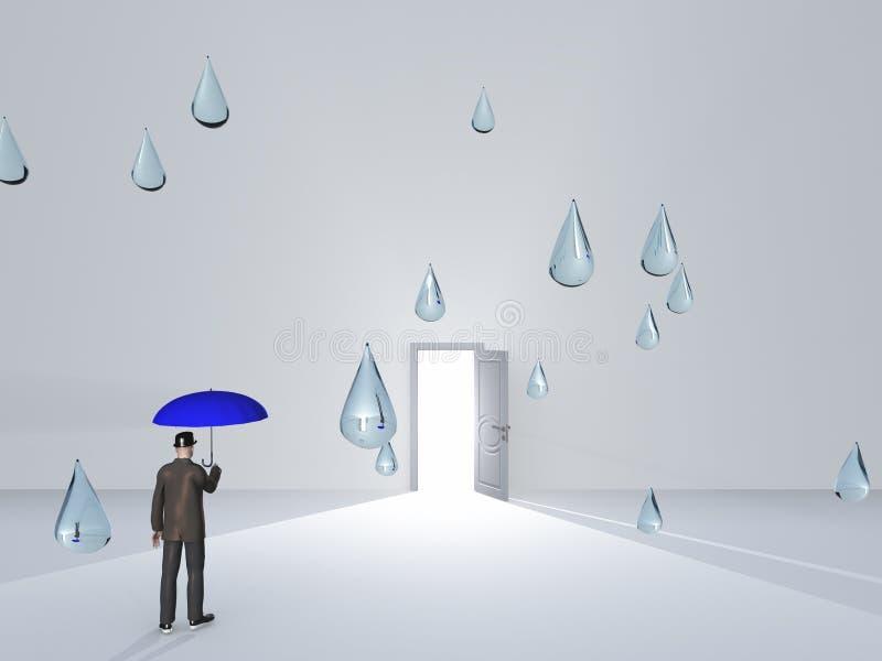 Mann mit Regenschirm- und Wassertröpfchen im Reinraum lizenzfreie abbildung