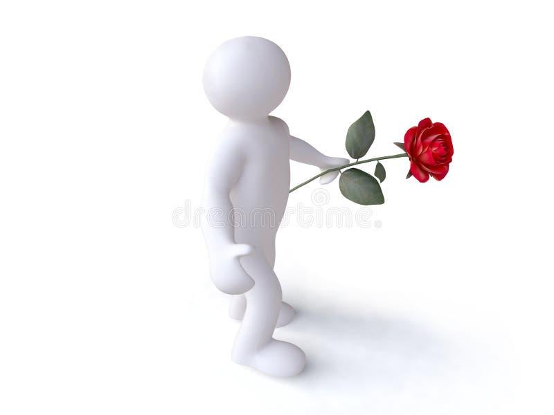 Mann mit roter Rose vektor abbildung