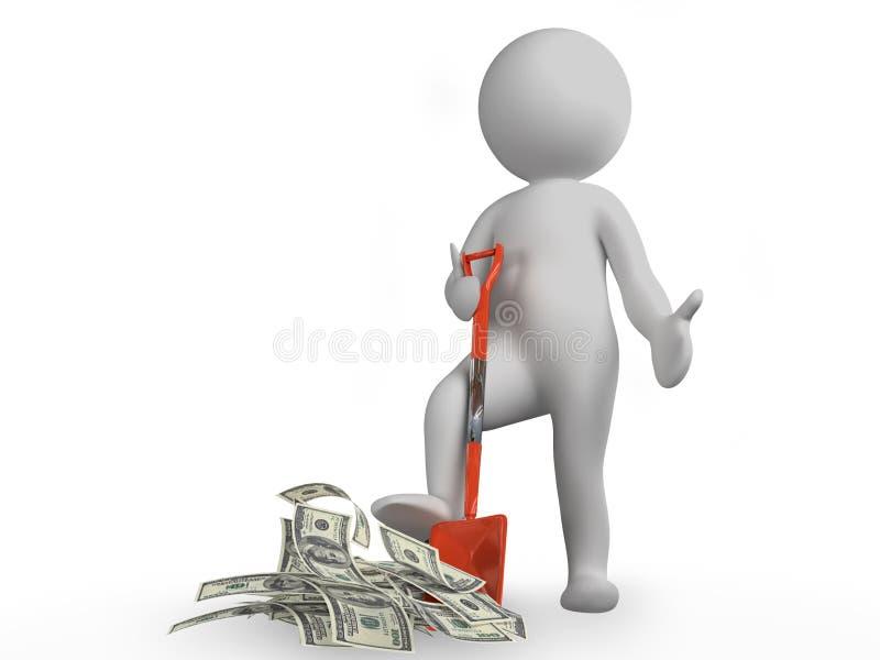 Mann mit Schaufel und Geld lizenzfreie abbildung