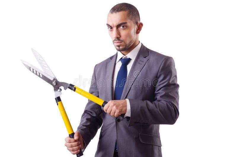 Mann mit Scheren im Jobausschnitt lizenzfreie stockfotos