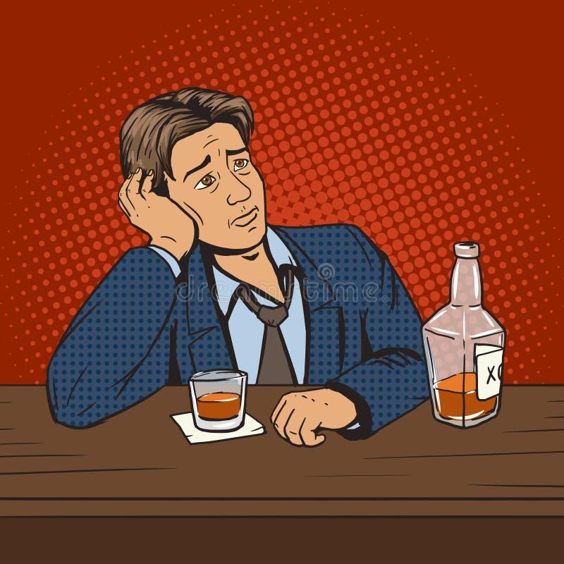 Mann mit schlechter Stimmung trinkt im Barpop-arten-Vektor stock abbildung