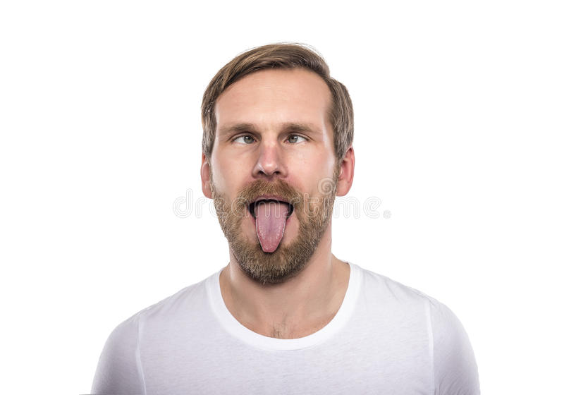 Mann mit seinen Augen gekreuzt lizenzfreies stockbild
