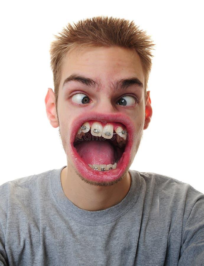 Mann mit sonderbarem Mund stockbilder