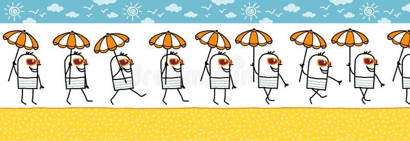 Mann mit Sonnenschirm- u. Sonnegläsern stock abbildung
