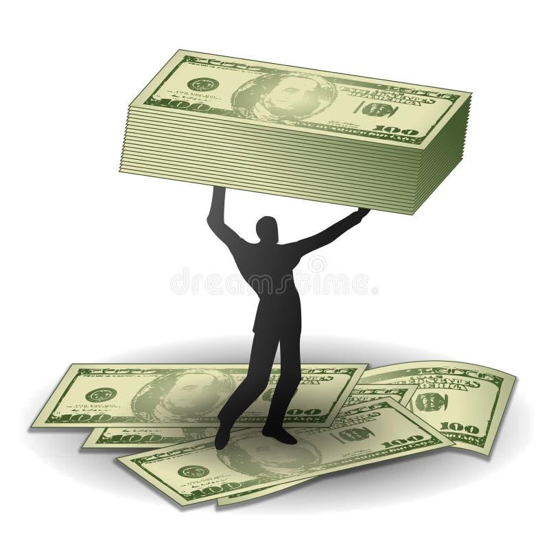 Mann mit Spekulationsgewinnen des Geldes stock abbildung