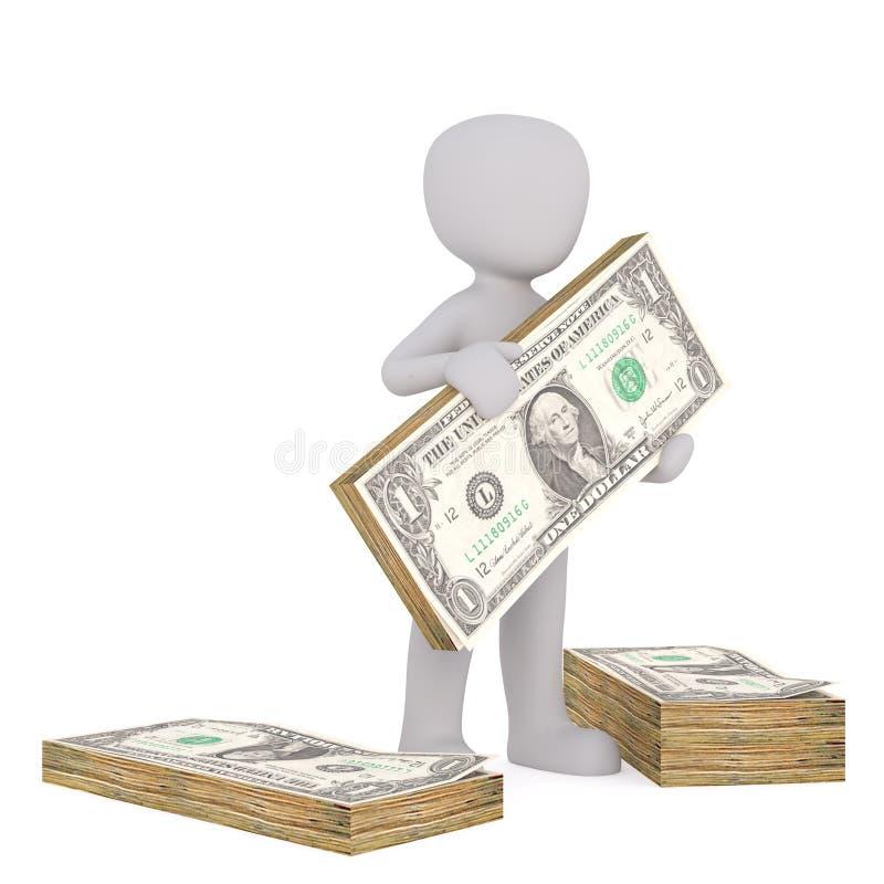 Mann mit Stapeln Bargeld, Einsparungenskonzepte lizenzfreie abbildung
