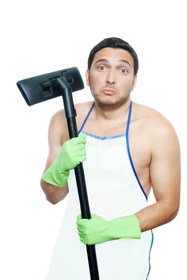 Mann mit Staubsauger lizenzfreie stockfotos