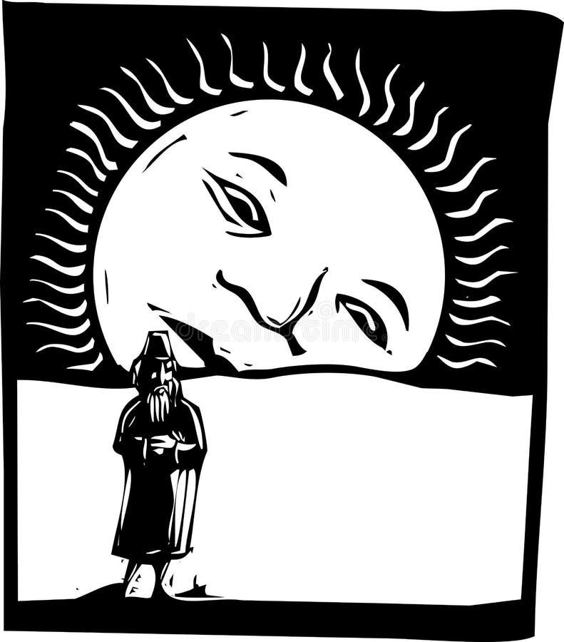Mann mit steigendem Sun lizenzfreie abbildung