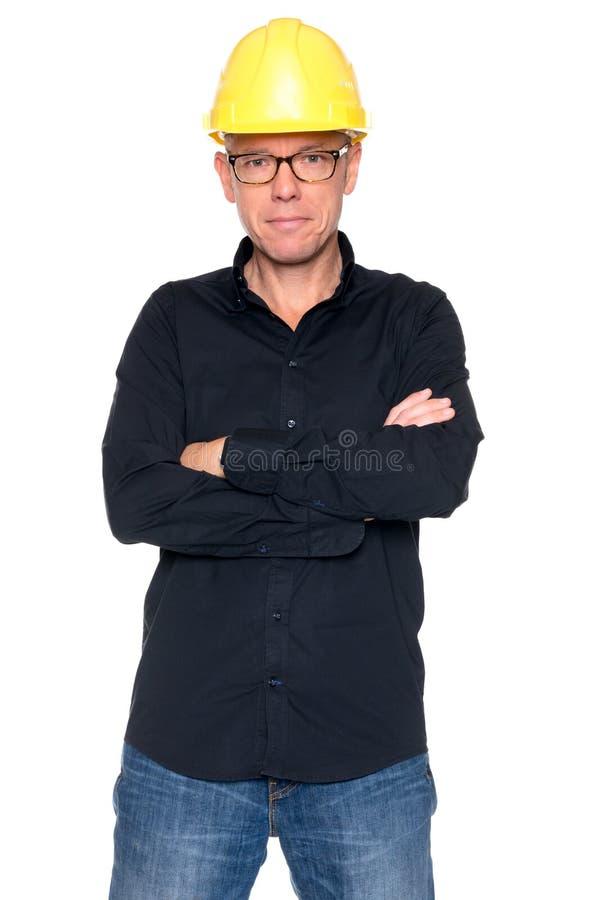 Mann mit Sturzhelm stockfotografie