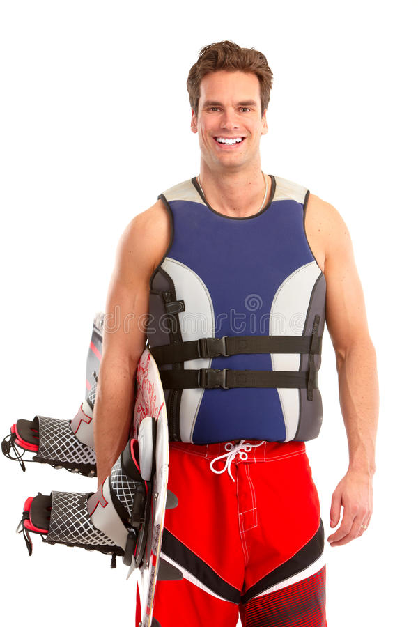 Mann mit Surfbrett lizenzfreies stockbild