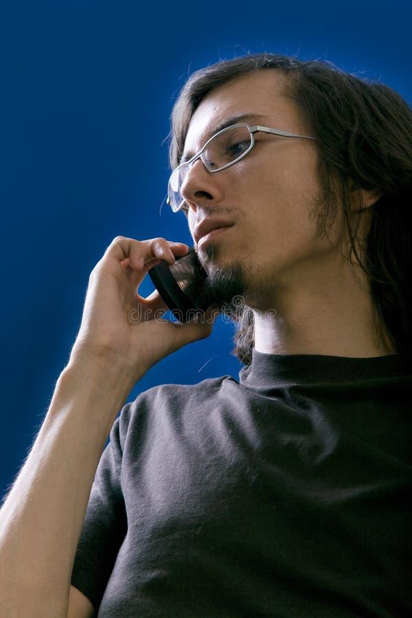 Mann mit Telefon stockbilder