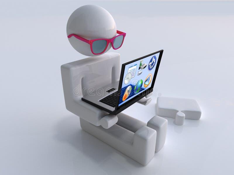 Mann Mit Transparentem Laptop Und Gläsern Lizenzfreie Stockfotografie