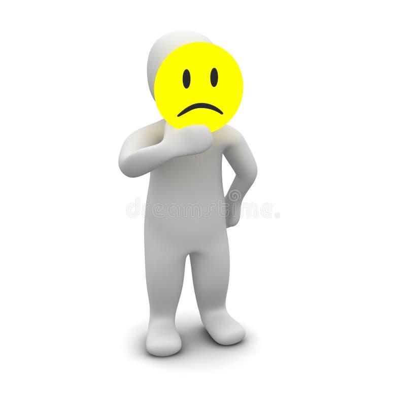 Mann mit trauriger Schablone lizenzfreie abbildung