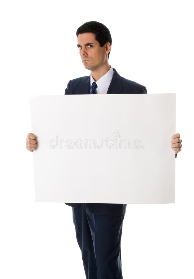 Mann mit unbelegtem Zeichen lizenzfreie stockfotos