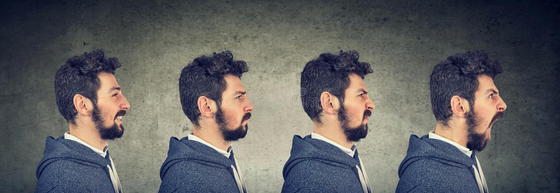 Mann mit verschiedenen Gefühlen und Gesichtsausdrücken stockfoto
