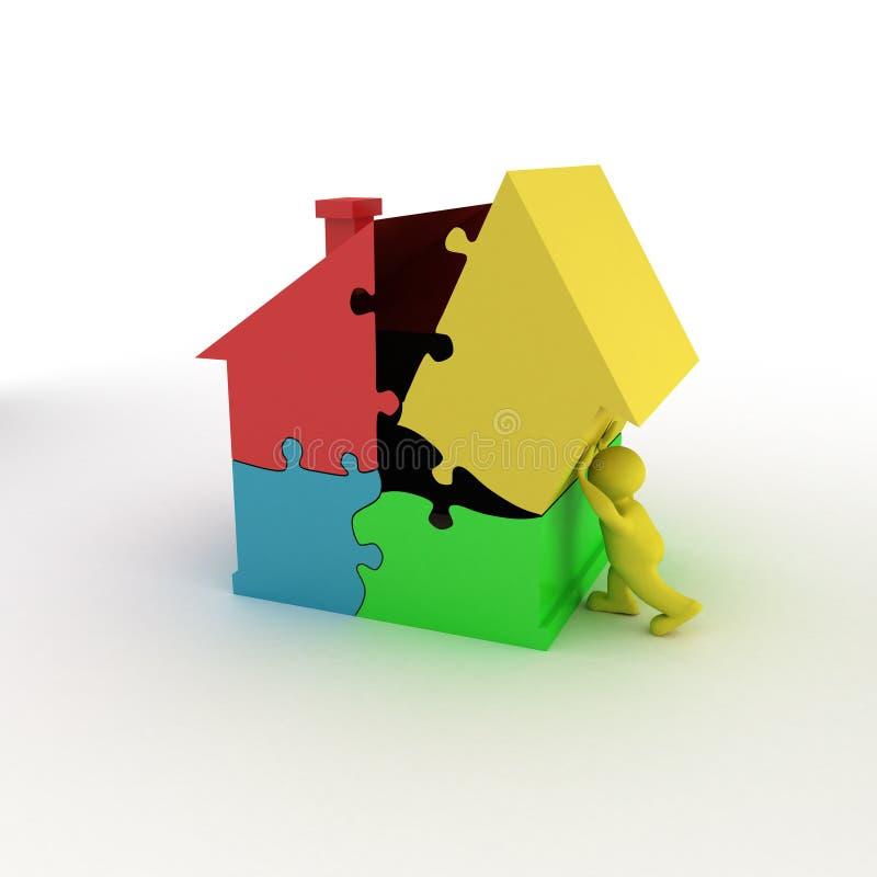 Mann mit zackigem Haus stockbild