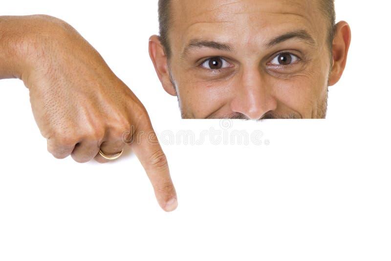 Mann mit Zeichen stockfoto
