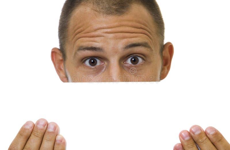Mann mit Zeichen lizenzfreie stockfotos