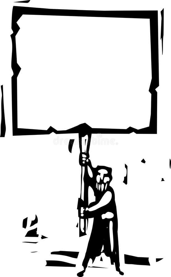 Mann mit Zeichen vektor abbildung
