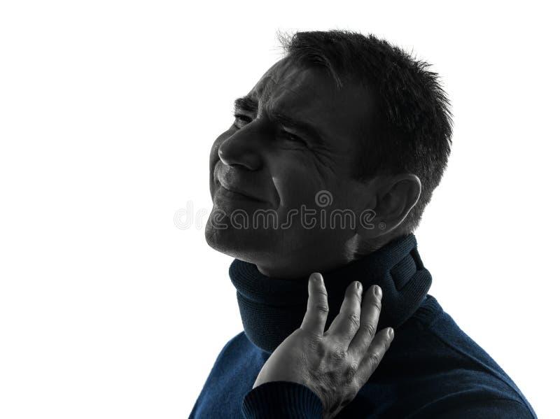 Mann Mit Zervikalem Kragen Neckache Schattenbildporträt Stockfoto