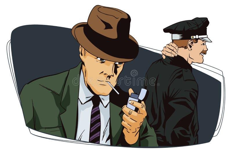 Mann mit Zigarette und Polizisten stock abbildung