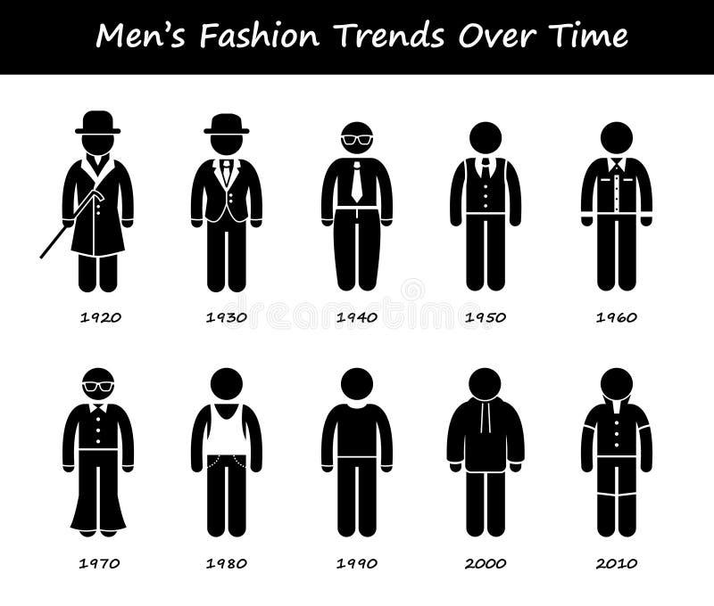 Mann-Modetrend-Zeitachse-Kleidungs-Abnutzung Cliparts-Ikonen stock abbildung
