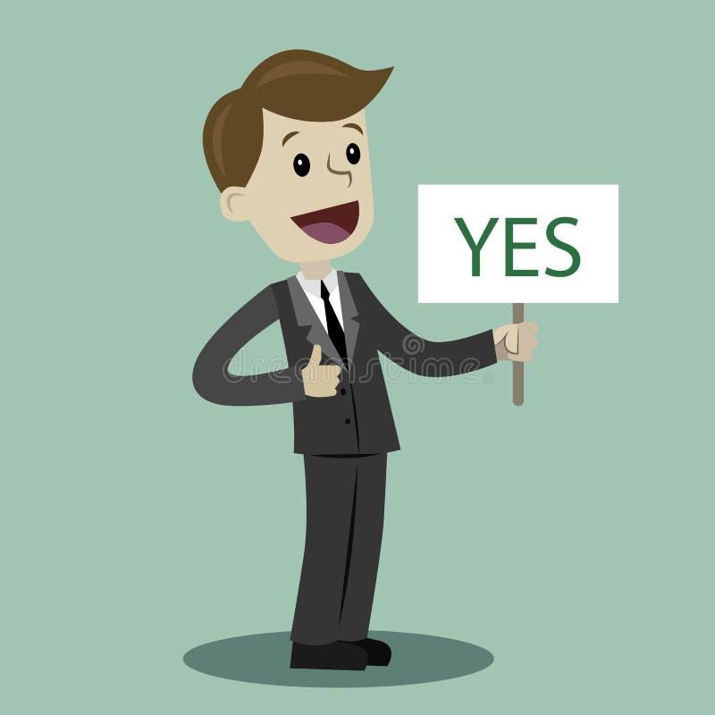 Mann oder Geschäftsmann hält ein Zeichen mit Text JA lizenzfreie stockbilder