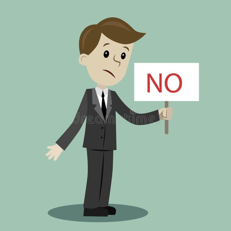 Mann oder Geschäftsmann hält ein Zeichen mit Text NEIN stockbilder