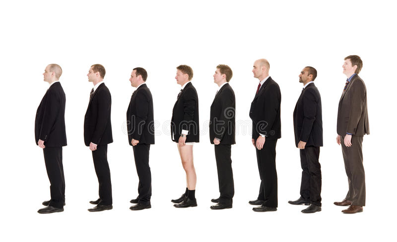 Mann ohne Hosen auf einer Zeile lizenzfreie stockfotografie