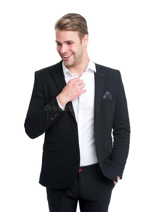 Mann pflegte gut elegante formale Ausstattung der Abnutzung Machoüberzeugte bereiten perfekte Ausstattung vor Der hübsche KerlBür stockfoto