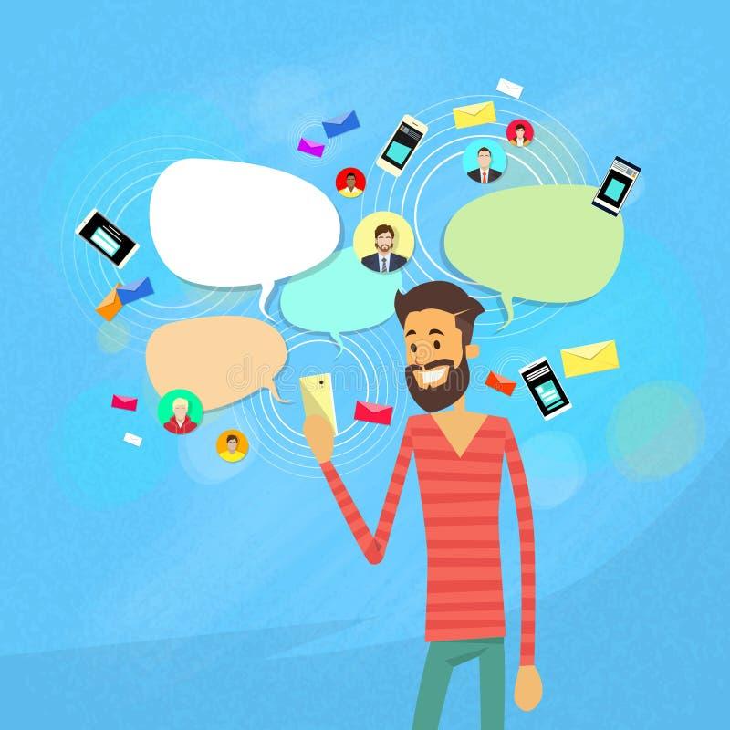 Mann-plauderndes Simsen, Kommunikation des Sozialen Netzes lizenzfreie abbildung