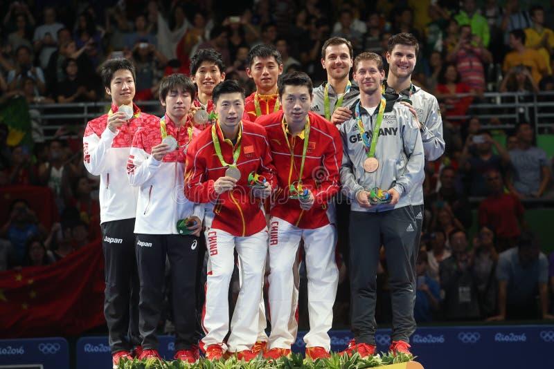 Mann-Podium an den Olympischen Spielen 2016 lizenzfreie stockbilder