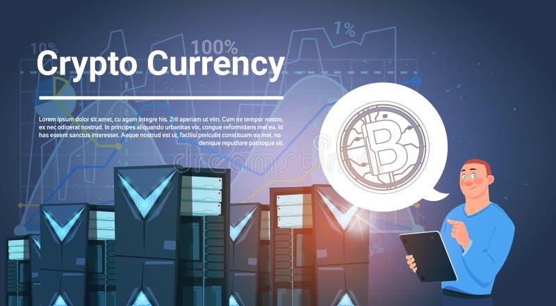 Mann Rechenzentrum Bitcoin-Bergbau-Bauernhof-Digital-Schlüsselwährungs-im modernen Netz-Geld-Konzept vektor abbildung
