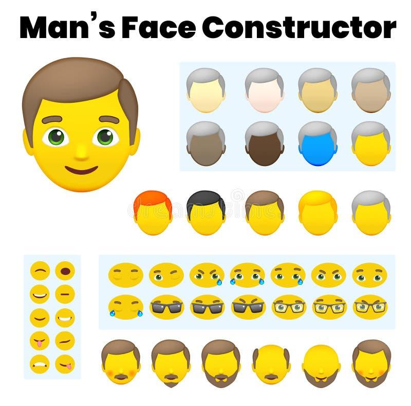 Mann ` s Emoji Charakter-Erbauer lizenzfreie abbildung