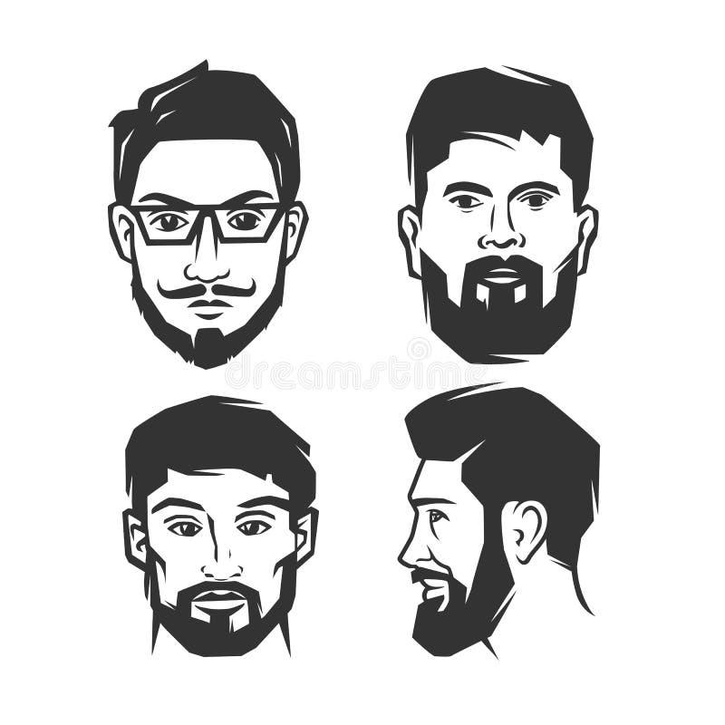 Mann ` s Gesicht mit Bart stock abbildung