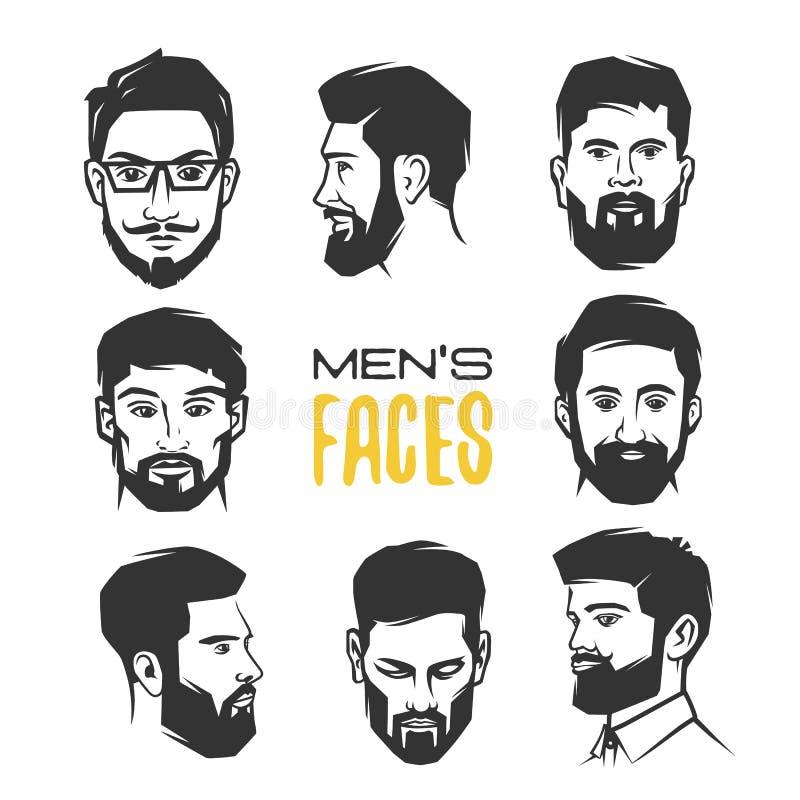 Mann ` s Gesicht mit Bart lizenzfreie abbildung