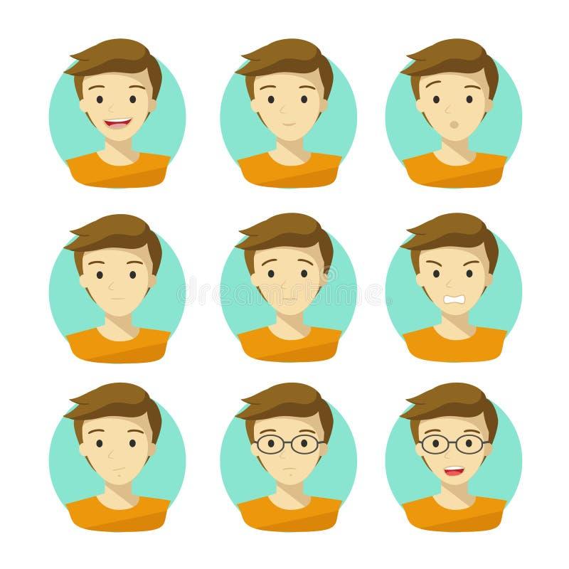 Mann ` s Gesichts-Ausdrücke Menschlicher Gefühl-Ikonen-Vektor mit weißem Hintergrund vektor abbildung
